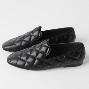 Zara Diamond Quilted Padded Soft Loafers